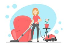 Woman clean the house with vacuum cleaner. Woman clean the house and carpet with vacuum cleaner. Housewife make domestic work. Isolated vector flat illustration vector illustration