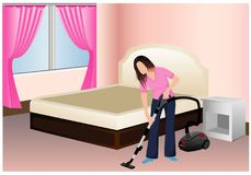 The woman clean the room. Design Stock Images