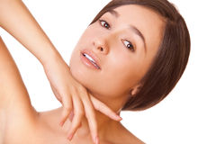 Woman with clean skin looking at camera Stock Photo