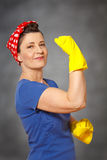 Woman cleaner cleaning gloves kerchief Stock Image