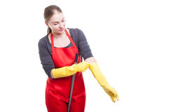 Woman cleaner wearing protective rubber gloves Stock Photo