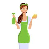 Woman cleaners portrait. Young woman housewife cleaning with spray and sponge portrait isolated on white background vector illustration Royalty Free Stock Photo