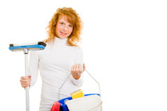 Woman cleaning Stock Image