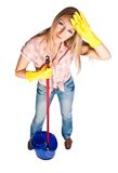 Woman cleaning Royalty Free Stock Photos
