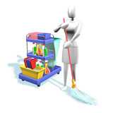Woman cleaning. 3d illustration, Woman with tools cleaning Stock Photography