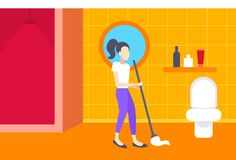 Woman cleaning bathroom housewife mopping floor bath room or toilet interior girl washing with mop full length flat vector illustration