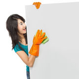 Woman cleaning blank board Stock Photo