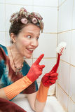 Woman and cleaning brush Royalty Free Stock Photo