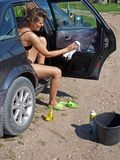 Woman cleaning car 3 Stock Photo
