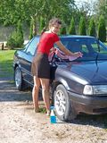 Woman cleaning car 6 Stock Image