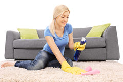 Woman cleaning a carpet with a cleaning spray Stock Photography
