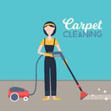 Woman cleaning carpet with vacuum cleaner at home. Hugiene concept vector ilustration Royalty Free Stock Photography