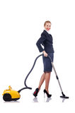 Woman cleaning with   cleaner Royalty Free Stock Photo