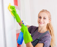 Woman cleaning cupboard Royalty Free Stock Photo