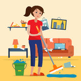 Woman cleaning dirty room with a mop. And a bucket of water. Floor washing. Flat style vector illustration Royalty Free Stock Photography