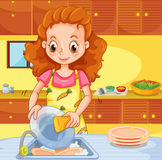 Woman cleaning dishes in the kitchen Royalty Free Stock Images
