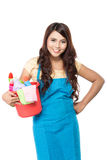Woman with cleaning equipment Stock Photography