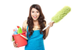 Woman with cleaning equipment Royalty Free Stock Image