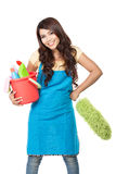 Woman with cleaning equipment Stock Image