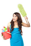 Woman with cleaning equipment Stock Photo