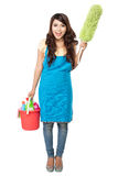 Woman with cleaning equipment Stock Images