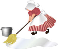 Woman cleaning floor. Vector illustration of woman cleaning the floor Stock Photo