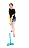 Woman cleaning floor. Royalty Free Stock Image