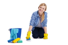 Woman cleaning a floor Stock Photo