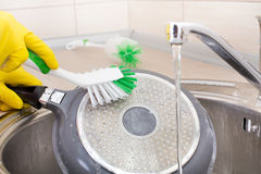 Woman cleaning frying pan Royalty Free Stock Image