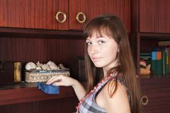 Woman cleaning  furniture Stock Photo