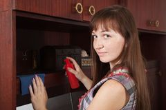 Woman cleaning  furniture at home Royalty Free Stock Image