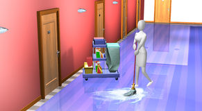 Woman cleaning hallway Royalty Free Stock Image