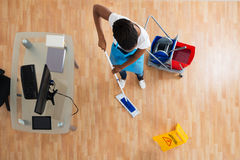 Woman Cleaning Hardwood Floor With Mop Royalty Free Stock Image
