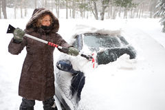 Woman cleaning her car stock image