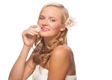 Woman cleaning her face Royalty Free Stock Photo