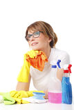 Woman cleaning her flat Royalty Free Stock Photos