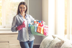 Woman cleaning her house Stock Photography