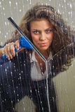 Woman cleaning her windows stock photography