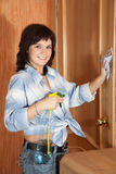 Woman cleaning   at home Stock Images