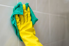 Woman cleaning at home. In gloves Stock Image