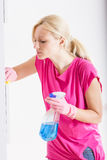 Woman cleaning home Royalty Free Stock Images