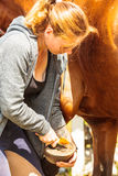 Woman cleaning horsehoe hoof with paddle Stock Photo