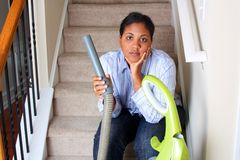 Woman Cleaning House Stock Image