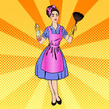 Woman Cleaning the House. Girl Doing House Work Royalty Free Stock Images