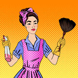 Woman Cleaning the House. Girl Doing House Work Royalty Free Stock Photo