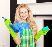 Woman cleaning house Royalty Free Stock Photography