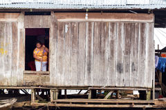 Woman Cleaning in Iquitos, Peru stock photography