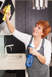 Woman cleaning kitchen Royalty Free Stock Images