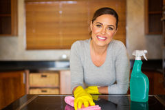 Woman cleaning kitchen. Portrait of happy young woman cleaning in the kitchen stock photo