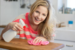 Woman cleaning kitchen  Stock Images